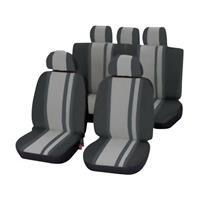 Unitec 84957 Newline Autostoelhoes 14-delig Polyester Zwart, Grijs Bestuurder, Passagier, Achterbank