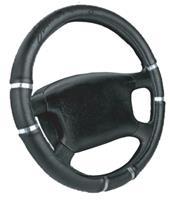 Simoni Racing Stuurwielhoes Chrome&Black - 37-39cm - Zwart Eco-Leder