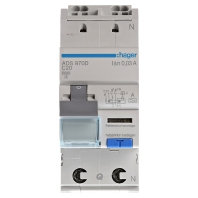 HAGER ADS970D - Earth leakage circuit breaker C20/0,03A ADS970D