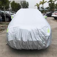 PVC anti-stof zonbestendige SUV autohoes met waarschuwingsstrips, geschikt voor auto's met een lengte tot 4,7 m (183 inch)