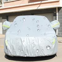 PEVA anti-stof waterdichte zonbestendige Hatchback autohoes met waarschuwingsstrips, geschikt voor auto's met een lengte tot 4,1 m (160 inch)