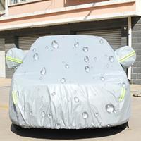 PEVA anti-stof waterdichte, zonbestendige sedan autohoes met waarschuwingsstrips, geschikt voor auto's met een lengte tot 4,1 m (160 inch)