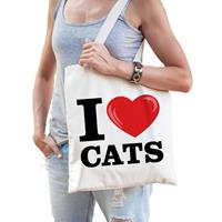 Katoenen tasje i love cats/ katten/ poezen