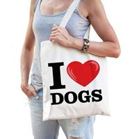 Katoenen tasje i love dogs/ honden