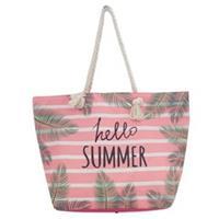 Strandtas roze/wit Hello Summer 54 cm - Strandtassen/schoudertassen roze met wit - Shoppers/zomer tass