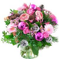 Debloemist Kerstboeket lila/ roze
