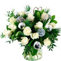 Debloemist Kerstboeket witte rozen