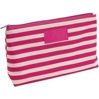 Toilettas/make-up tas gestreept roze/beige 28 cm voor dames Roze