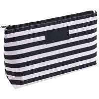 Toilettas/make-up tas gestreept zwart/wit 28 cm voor heren/dames Zwart