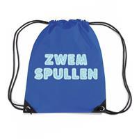 Bellatio Zwemspullen rugzakje / zwemtas met rijgkoord blauw Blauw