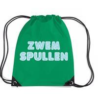 Bellatio Zwemspullen rugzakje / zwemtas met rijgkoord groen Groen