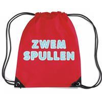 Bellatio Zwemspullen rugzakje / zwemtas met rijgkoord rood Rood