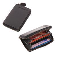 RFID pasjeshouder of mini portemonnee van zwart ecoleer - Preston