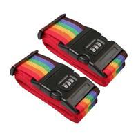 Merkloos Pakket Van 2x Stuks Kofferriemen/bagageriemen Met Cijferslot 200 Cm - Kofferspandband Regenboog Kleuren
