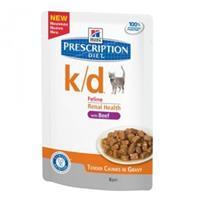 Hill's Prescription Diet k/d - Feline maaltijdzakjes Beef 12x 85 gr