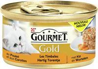 gourmet Gold Hartig Torentje Kip & Wortel kattenvoer 1 tray (24 blikken)