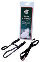 Gebr. de Boon Nylon kittentuig met lijn zwart