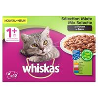 Whiskas multipack pouch adult mix selectie vlees / vis in saus