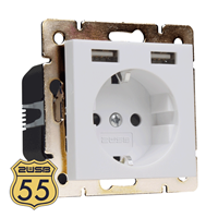 Nietbekend 2USB Stopcontact Model 55 Zuiver Wit Glanzend