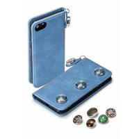 GranC drukknopen wallet hoes - iPhone 7 / 8 - Lichtblauw