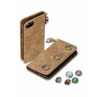 GranC drukknopen wallet hoes - iPhone 7 / 8 - taupe