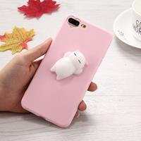 For iPhone 8 Plus & 7 Plus 3D Little Bear Pink Ears Pattern Squeeze Relief Squishy Dropproof Protective Back Cover Case