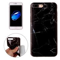 For iPhone 8 Plus & 7 Plus Black Marbling Pattern Soft TPU Protective Back Cover Case