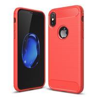 iPhone X Geborsteld koolstofvezel structuur beschermend TPU back cover Hoesje (rood)