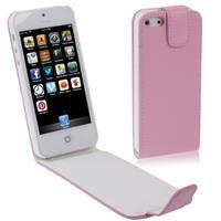 Apple Vertical Flip Soft lederen hoesje voor iPhone 5 & 5S(roze)