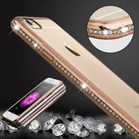 For iPhone 6 Plus & 6s Plus Diamond Bling Luxury Plating PC Frame Transparent TPU Protective Case(Gold)