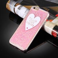 For iPhone 6 Plus & 6s Plus Glitter Powder Heart-shaped Words Pattern Soft TPU Protective Case(Pink)