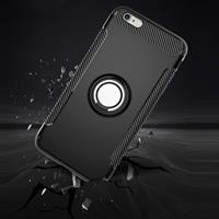 For iPhone 6 Plus & 6s Plus Magnetic 360 Degree Rotation Ring Armor Protective Case(Grey)