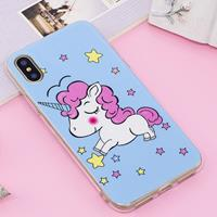For iPhone X Noctilucent IMD Horse Pattern Soft TPU Back Case Protector Cover