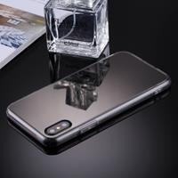 For iPhone X Acrylic + TPU Electroplating Mirror Protective Back Cover Case(Black)
