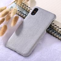 For iPhone X Plush Protective Back Cover Case (Grey)