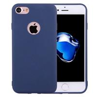 For iPhone 8 & 7 Solid Color TPU Protective Case with Round Hole(Dark Blue)