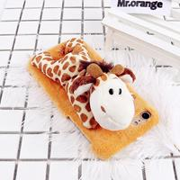 For iPhone 6 Plus & 6s Plus Fashion Plush Lovely Giraffe Doll Toy Protective Back Cover Case (Yellow)