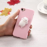 For iPhone 6 Plus & 6s Plus 3D Little Bear Pink Ears Pattern Squeeze Relief Squishy Dropproof Protective Back Cover Case