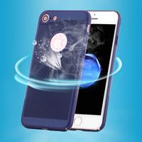 Apple Voor iPhone 8 & 7 lichtgewicht ademend volledige dekking PC Shockproof terug Cover beschermhoes (donkerblauw)