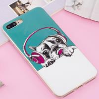 For iPhone 8 Plus & 7 Plus Noctilucent IMD Dog Pattern Soft TPU Back Case Protector Cover