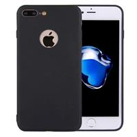 For iPhone 8 Plus & 7 Plus Solid Color TPU Protective Case with Round Hole(Black)
