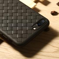 Benks for iPhone 8 Plus & 7 Plus TPU Knitting Leather Surface Protective Back Cover Case (Black)