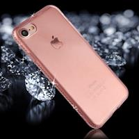 For iPhone 8 & 7 Diamond Border TPU Transparent Protective Back Cover Case (Pink)