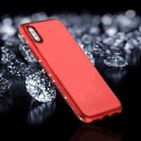 Voor iPhone X Crystal Decor Sides Frosted Soft TPU beschermings Back hoesje(rood)