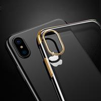 For iPhone X Three Sections Electroplating Side TPU Protective Back Cover Case(Gold)