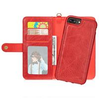 For iPhone 6 Plus & 6s Plus PU Detachable Horizontal Flip Protective Leather Case with Card Slots & Wallet & Photo Frame (Red)