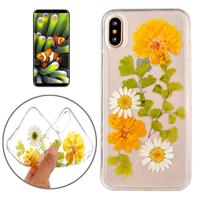 For iPhone X Epoxy Dripping Pressed Real Dried Flower Soft Transparent Protective Case