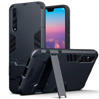 Qubits Double Armor Layer hoes met stand - Huawei P20 Pro - zwart
