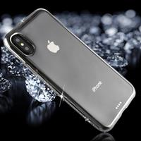 For iPhone X Diamond Electroplating Border TPU Transparent Protective Back Cover Case (Silver)
