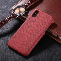 For iPhone X Snake Skin Texture Paste Protective Back Cover Case(Red)